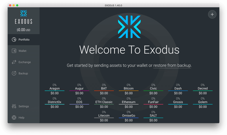 Exodus Ethereum Wallet: Screenshot