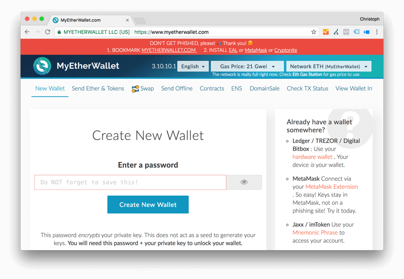 MyEtherWallet Ethereum Wallet: Screenshot